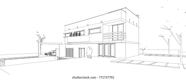 House Exterior Drawing Stock Illustrations, Images & Vectors ...