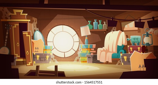 House attic with old broken furniture, dust flying in air and spider web, cartoon vector background. Attic interior in wooden house with round window under roof, day sunlight on floor, broken wardrobe
