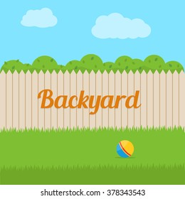 House backyard. Flat style vector illustration.