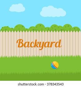 House backyard. Flat style vector illustration.