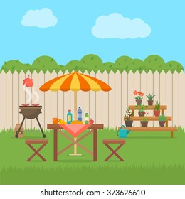 House backyard with grill. Outdoor picnic. Barbecue in patio. Flat style vector illustration.