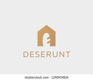 House bakery bread logo. Negative space baguette vector logotype.