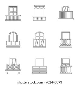 House balcony icon set. Outline set of 9 house balcony vector icons for web isolated on white background