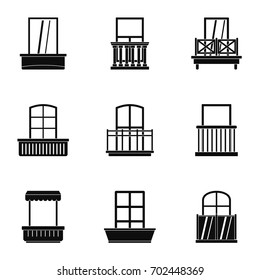 House balcony icon set. Simple set of 9 house balcony vector icons for web isolated on white background
