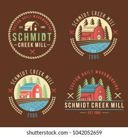 House barn farm forest creek mill tree saw logo logotype badge icon illustration template
