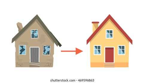 """House """"before"""" and """"after"""" repair. flat vector illustration isolated on white background"""