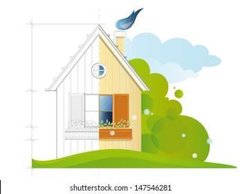 A house before (blue print) and after the constructing. EPS 10. Transparency. Gradients.
