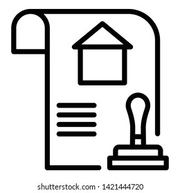 House bill icon. Outline house bill vector icon for web design isolated on white background