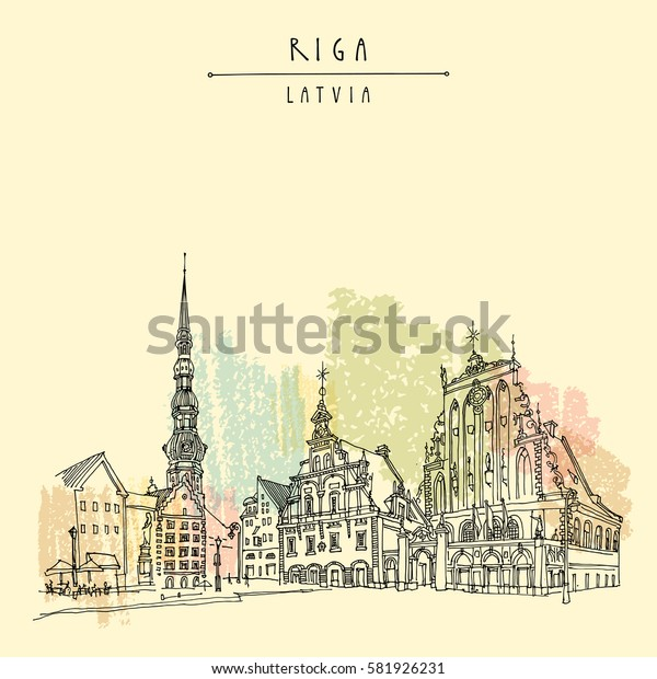 House of the Blackheads, St. Peters Church and statue of Roland in Riga old town, Latvia, Europe. Hand drawn postcard in vector