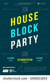 House block party flyer. Dj dance night poster