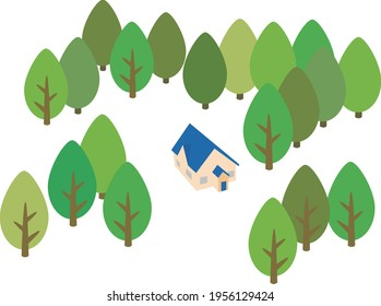 A house with the blue roof and trees around it