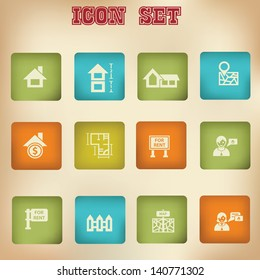 House and blueprint vintage icons
