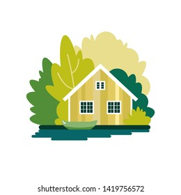 House with a boat on a lake in the summer forest. The poster on the theme of fishing, tourism and recreation. Vector illustration.
