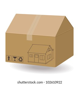 House in the box. New house concept. Real estate 3dimensions illustration