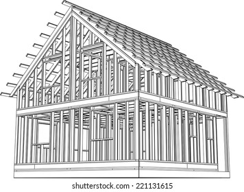 house building construction on white background