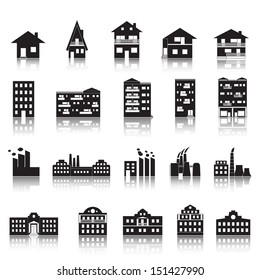 House, Building, Factory And Palace Icons Set - Isolated On White Background - Vector Illustration, Graphic Design Editable For Your Design. House Logo