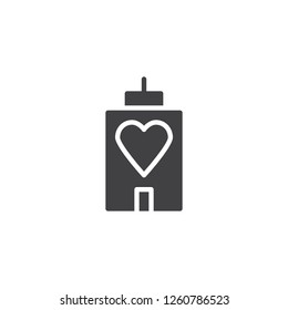 House building with heart vector icon. filled flat sign for mobile concept and web design. Love home simple solid icon. Symbol, logo illustration. Pixel perfect vector graphics