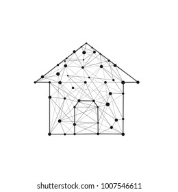 House building icon composed of polygons lines and dots. Home creative symbol isolated. Mesh low poly futuristic vector illustration.