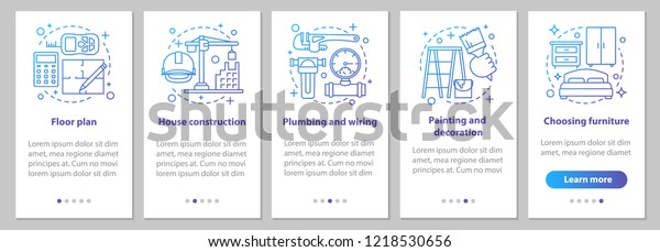 wiring house floor plan house building onboarding mobile app page stock vector  royalty  onboarding mobile app page stock vector