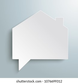 House building shape speech bubble on the gray background. Eps 10 vector file.