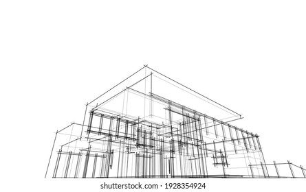 house building sketch architectural 3d illustration