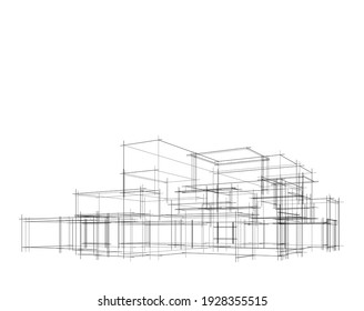 house building sketch architectural 3d illustration - Shutterstock ID 1928355515
