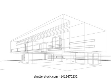 house building sketch architecture 3d illustration - Shutterstock ID 1412470232