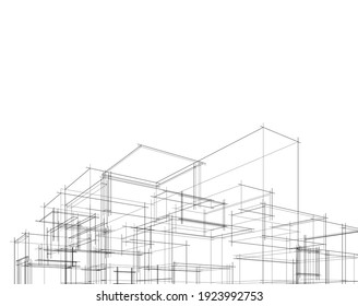 house building sketch architecture 3d illustration - Shutterstock ID 1923992753