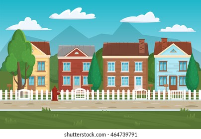 House buildings street, home background. Houses and buildings postcard, European town beautiful city design template. Vector illustration.