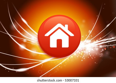 House Button on Abstract Modern Light Background Original Illustration