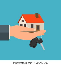House buy rent real estate vector background. Loan rent sell home icon with key and money mortgage