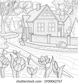 House by the river.Coloring book antistress for children and adults. Illustration isolated on white background.Zen-tangle style. Hand draw