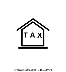House calculation line icon on the white background
