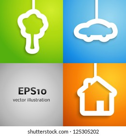 House, car and tree applique background set. Vector illustration for your lovely design. Banner of simple bright symbols of family values for your business presentation.