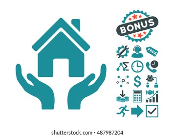 House Care Hands icon with bonus images. Vector illustration style is flat iconic bicolor symbols, soft blue colors, white background.