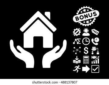 House Care Hands icon with bonus pictogram. Vector illustration style is flat iconic symbols, white color, black background.