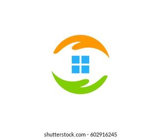 House Care Logo Design Element