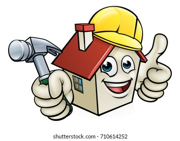 A house cartoon character mascot wearing construction site hard hat, holding a hammer giving thumbs up