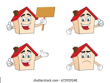 House cartoon with face, hands and expressions