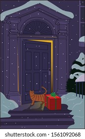 A house cat discovers a gift box left at the front door.