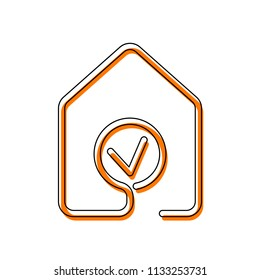 house with check mark icon. line style. Isolated icon consisting of black thin contour and orange moved filling on different layers. White background