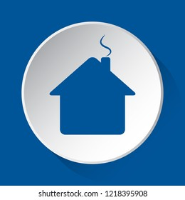 house with chimney - simple blue icon on white button with shadow in front of blue square background