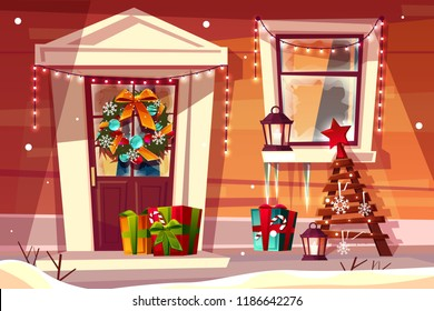 House with Christmas decorations vector illustration of wooden home entrance facade with Xmas lights, tree and gifts on snow. Cartoon background design for New Year greeting card template