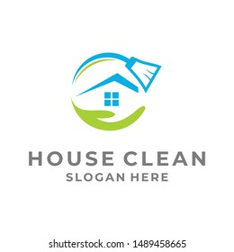 house clean services logo template