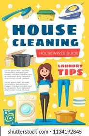House cleaning guide poster for housewife home work. Vector cartoon design of woman with mop, washing machine and dishes in dishwasher, iron and linen or detergent with soap sponge