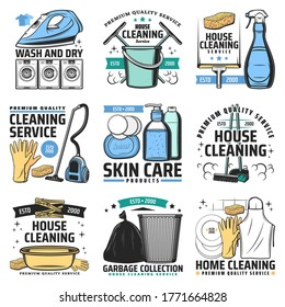 House cleaning and hygiene vector icons. Vacuum cleaner, iron and washing machine, rubber gloves, broom and dustpan, detergent and squeegee, trash bucket and bag. Laundry and house cleaning service