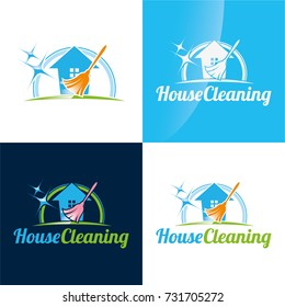 House Cleaning Icon and Logo - Vector Illustration