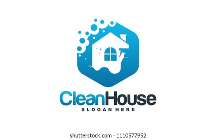 House Cleaning logo designs concept, Cleaning House logo template vector