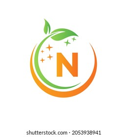 House Cleaning Logo On Letter N With Water Spa And Leaf Concept. Maid Logo, Leaf Icon, Water Drop Template