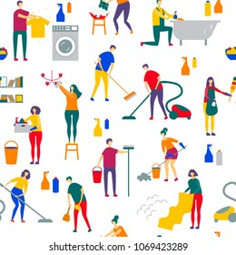 house cleaning people character vector illustration flat design. cleaning service pattern